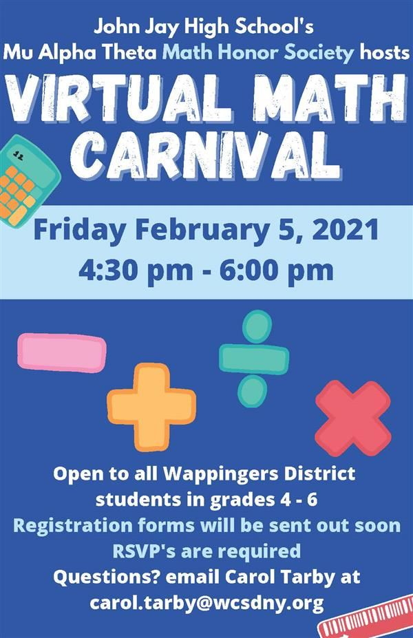 Math Carnival at John Jay HS on February 5th 4:30-6:00 PM