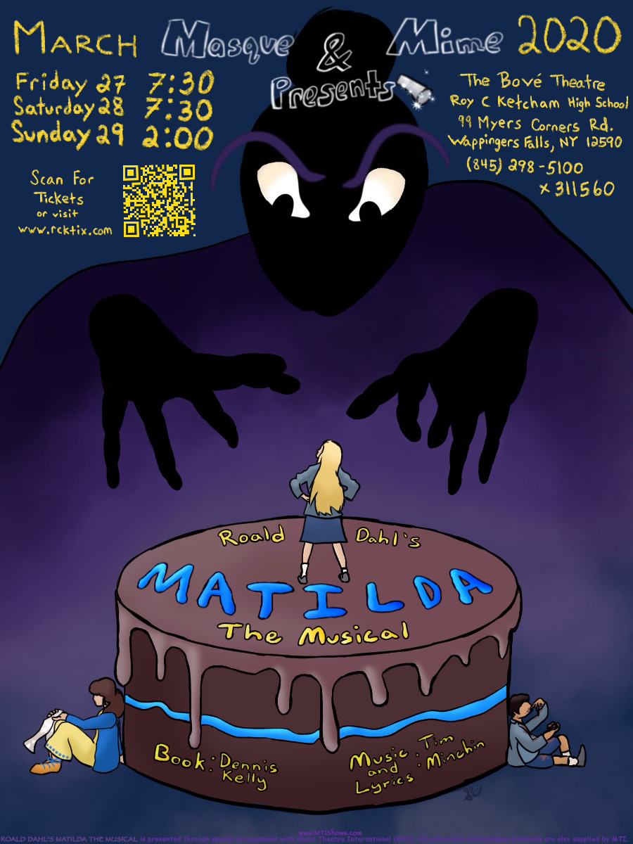 RCK's Masque & Mime Presents Roald Dahl's MATILDA the Musical.  March 27-29.  Tickets now available.  Click here!
