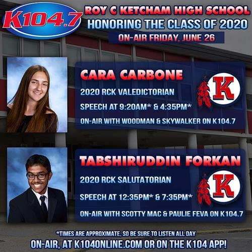 RCK's VALEDICTORIAN, CARA CARBONE AND SALUTATORIAN, TABSHIRUDDIN FORKAN - ON-AIR K104 - FRIDAY, JUNE 26