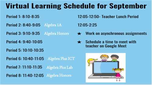 Schedule for Virtual Learning