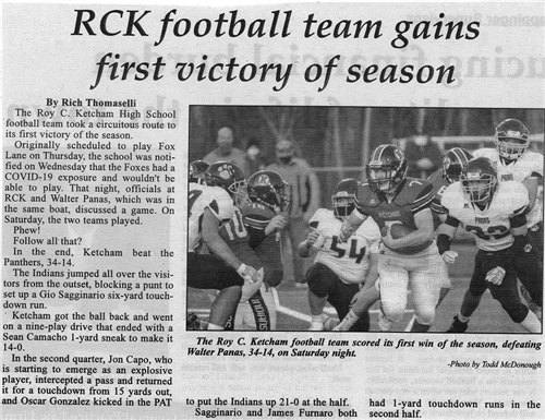 RCK Football Team Gains First Victory of Season