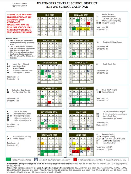 Glaser Leopold 18 19 School Calendar